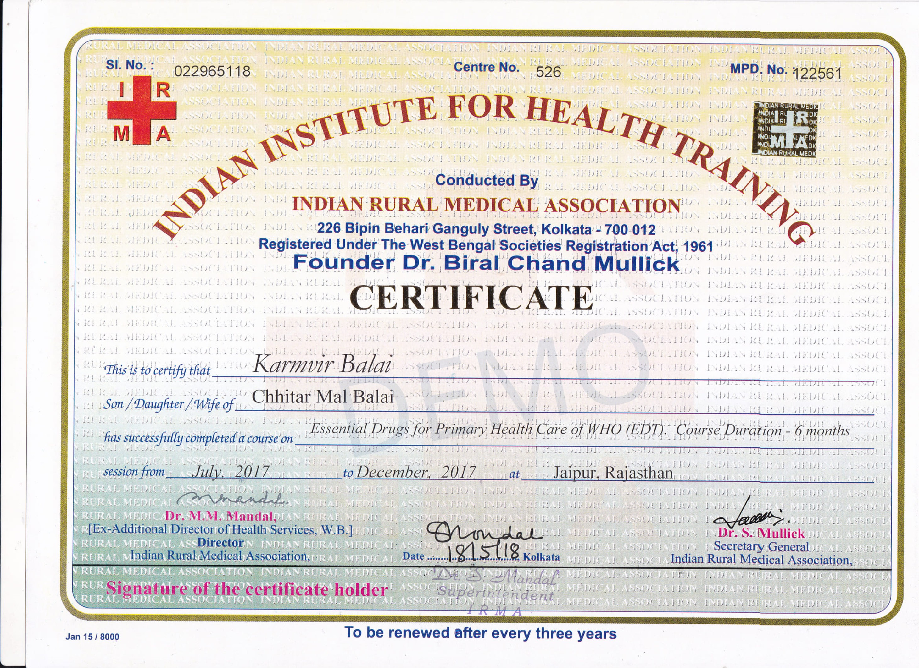 Mansa Certificates